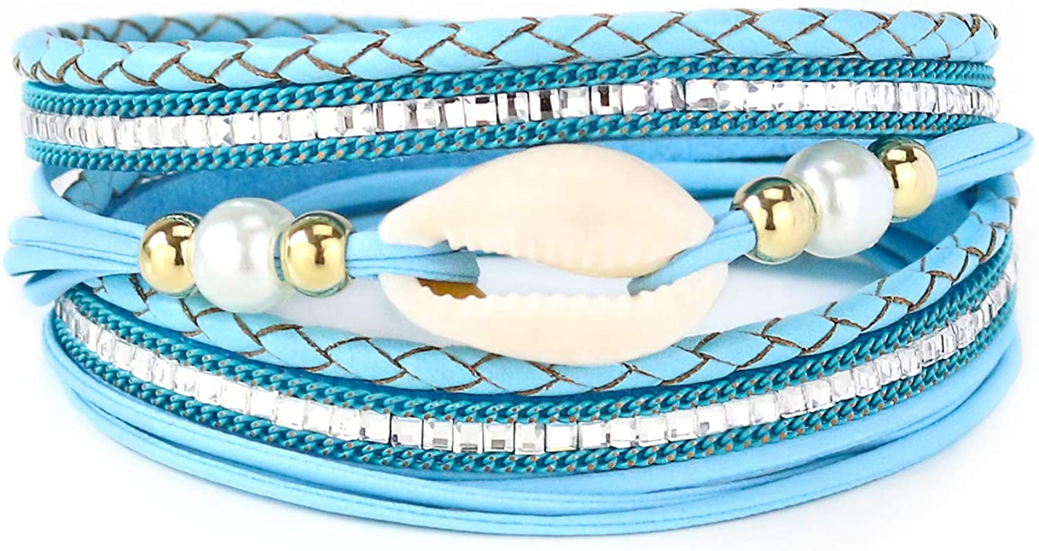 EGOO&YAMEE Wrap Leather Bracelet Multi-Layer Natural Stone Rhinestone Crystal Braided Cuff Bohemia Boho Braided with Magnetic Buckle Vintage Bracelet Gifts for Women and Girls