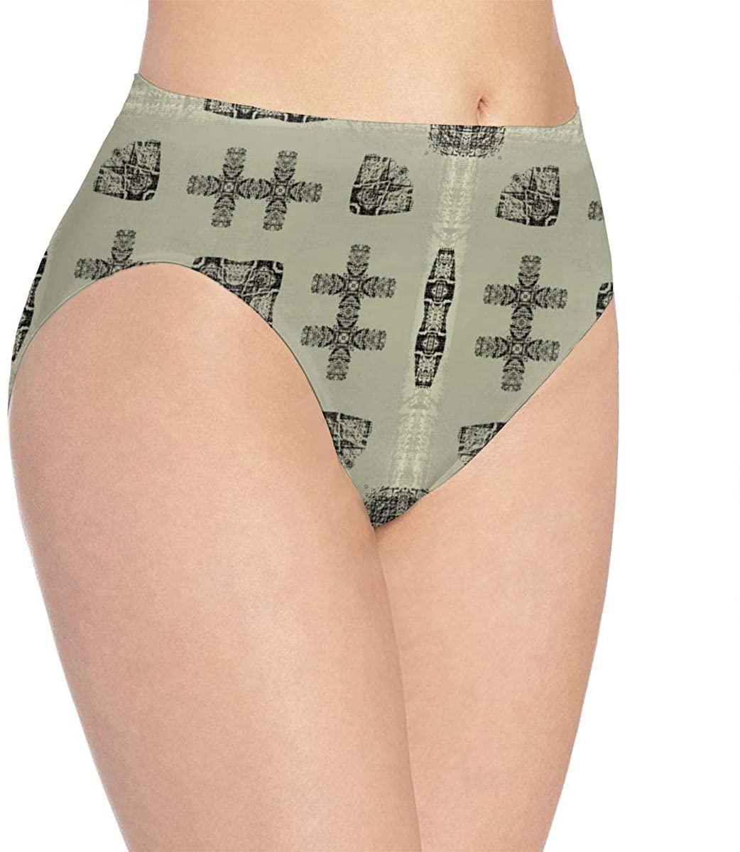 Art Vintage Geometric Maze Womens Stretch Seamless Underwear Laser Cut Bikini Panties