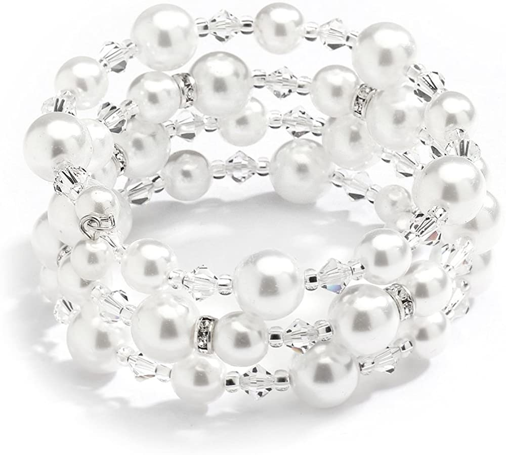Mariell Handmade White Glass Pearl Wrap Around Wedding Bridal Bracelet - Coil Cuff with Crystal Accents