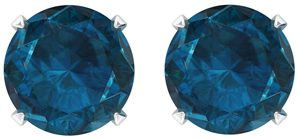 1.8 Ct Certified Blue Topaz London Stud Earring, Unique Bridal Statement Earring, Classic Women Solitaire Birthstone Earring, Gemstone Wedding Earring, Screw back