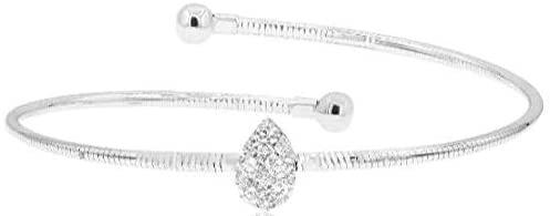 .60CT DIAMOND 18KT WHITE GOLD 3D PAVE PEAR SHAPE CRISS CROSS FUN BANGLE BRACELET