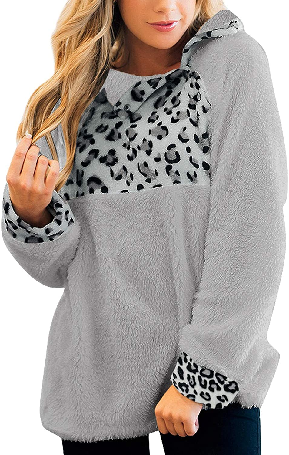 GRAPENT Women's Casual Long Sleeves Stand Collar Buttons Pockets Fleece Pullover