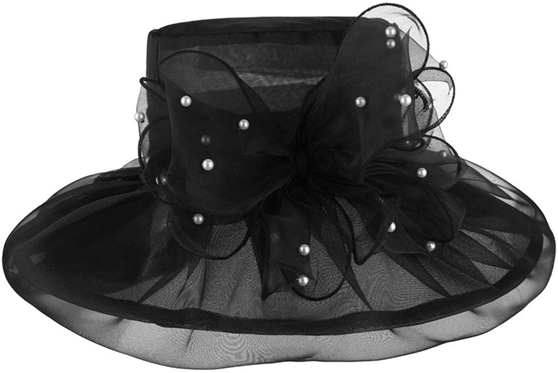 Summer Large Brim Sun Hats Women Big Flower Beads Organza Fashion Women Sun Hat Beach Cap Wedding Hat