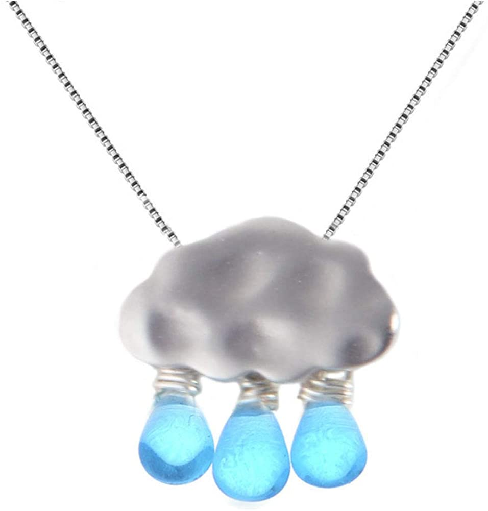 Helen de Lete Handmade Cloudy Rainy Day Weather Element 925 Sterling Silver Collar Necklace