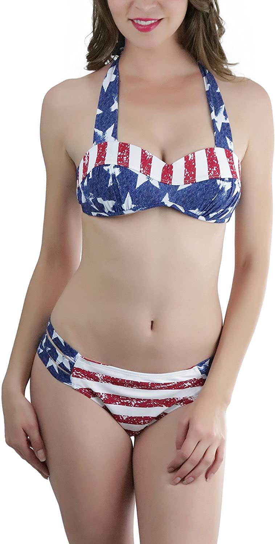 ToBeInStyle Women's Two Piece Molded Hard Cup Bra & Side String Bikini