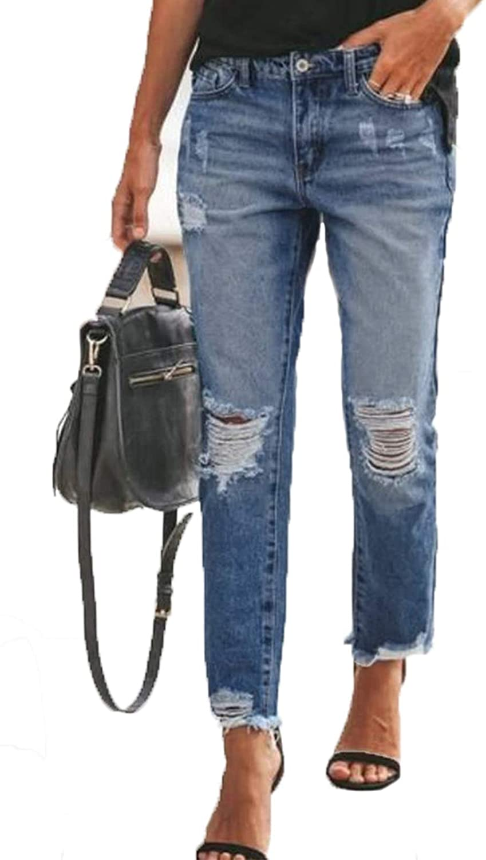 Sidefeel Women Ripped Slim Fit Washed Jeans Raw Hem Distressed Denim Pants