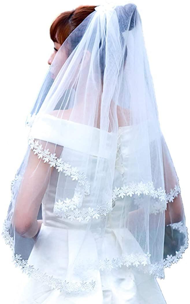 Aunica Women's Wedding Bridal Veil 2 Tier Lace Applique Edge Bride Veils with Comb Fingertip Length Wedding Headpiece