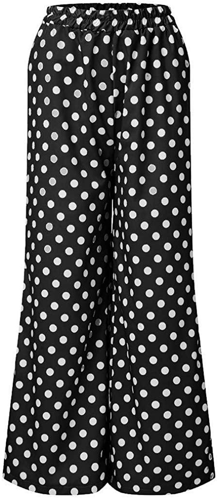 Juesi Women's Polka Dot Palazzo Lounge Pants Casual Wide Leg Yoga Pajamas Bottoms