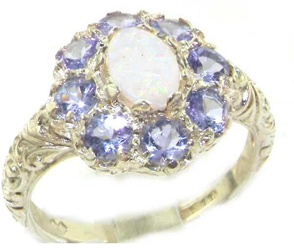 Solid 10k White Gold Natural Opal, Tanzanite Womens Cluster Ring - Sizes 4 to 12 Available