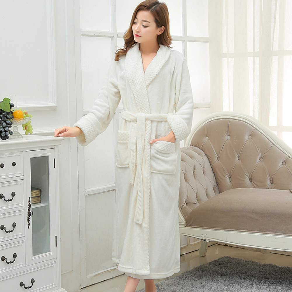 llwannr Bathrobe Robe Nightgown Sleep,Lovers Extra Long Kimono Bath Robe Women Silk Flannel Warm Bathrobe Dressing Gown Bride Bridesmaid Robes Wedding,Women Ivory,L