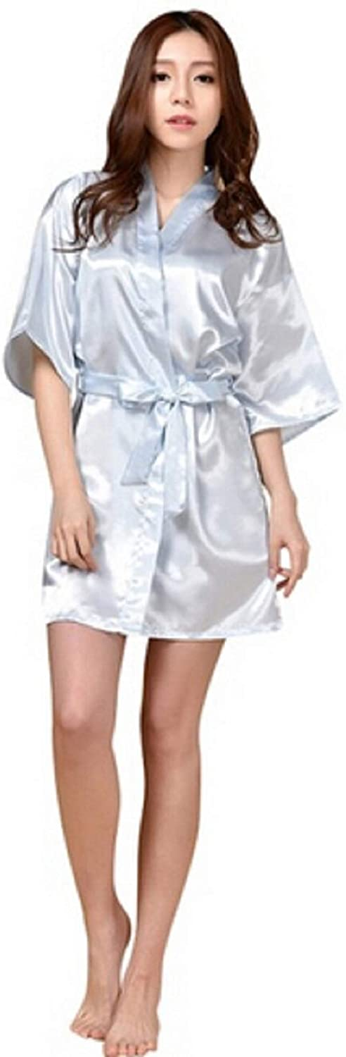 EVAXO Bridesmaid Robes,White Faux Silk Wedding Bridal Sisters Dressing Gown/Bathrobes //#R