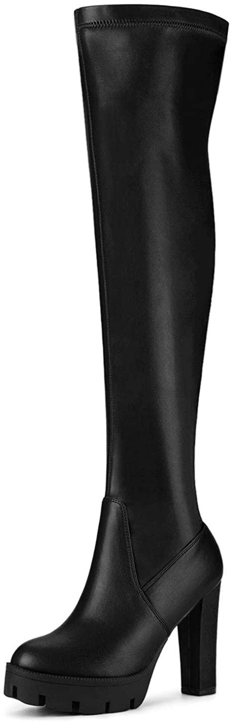 Allegra K Women's Platform Heels Chunky Heel Over Knee High Boots