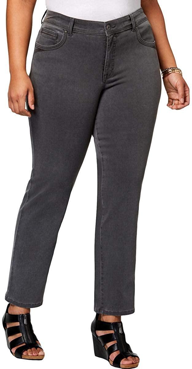 Style & Co. Womens Plus Denim High Rise Jeans Gray 24W