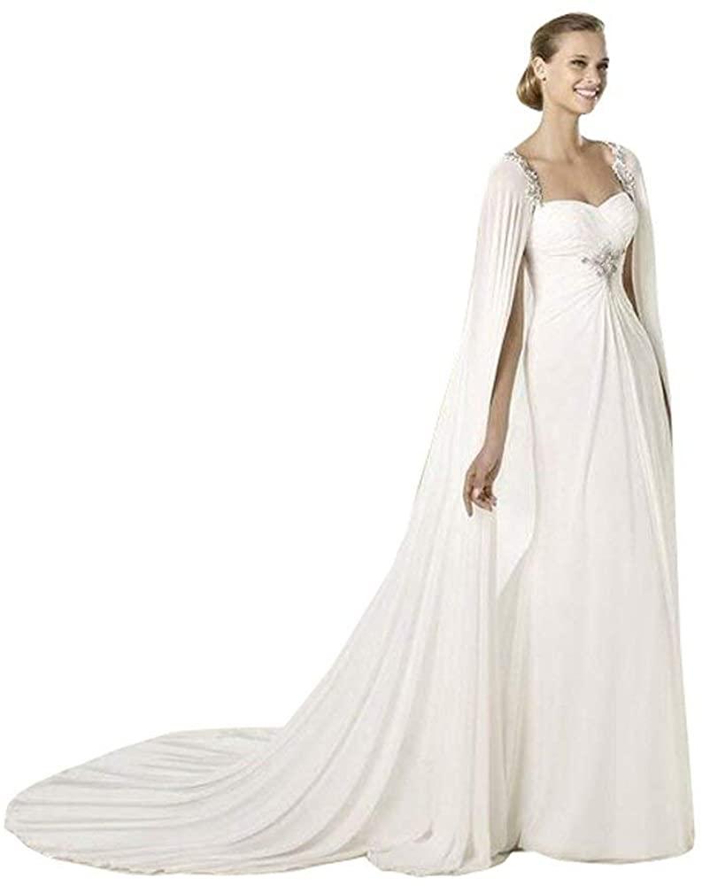 White Cathedral Length Chiffon Women's Lace Wedding Cloak Bridal Cape