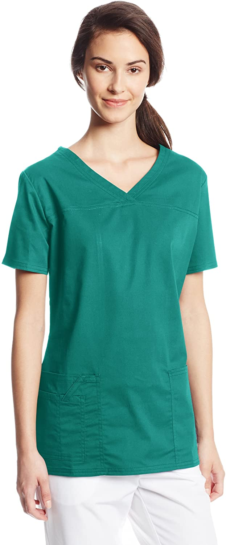 CHEROKEE Women's Workwear Core Stretch V-Neck Scrubs Shirt, Hunter, Large