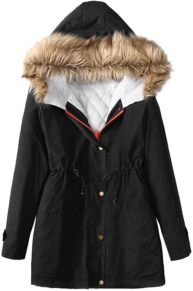 Eduavar Womens Warm Winter Coat Cotton-Padded Long Jacket Thicken Hooded Long Coats Faux Fur Lined Parka Outdoor Jackets