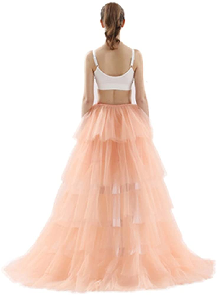 Simlehouse Womens High Low Tiered Wedding Party Overskirts Puffy Tulle Detachable Train Skirt