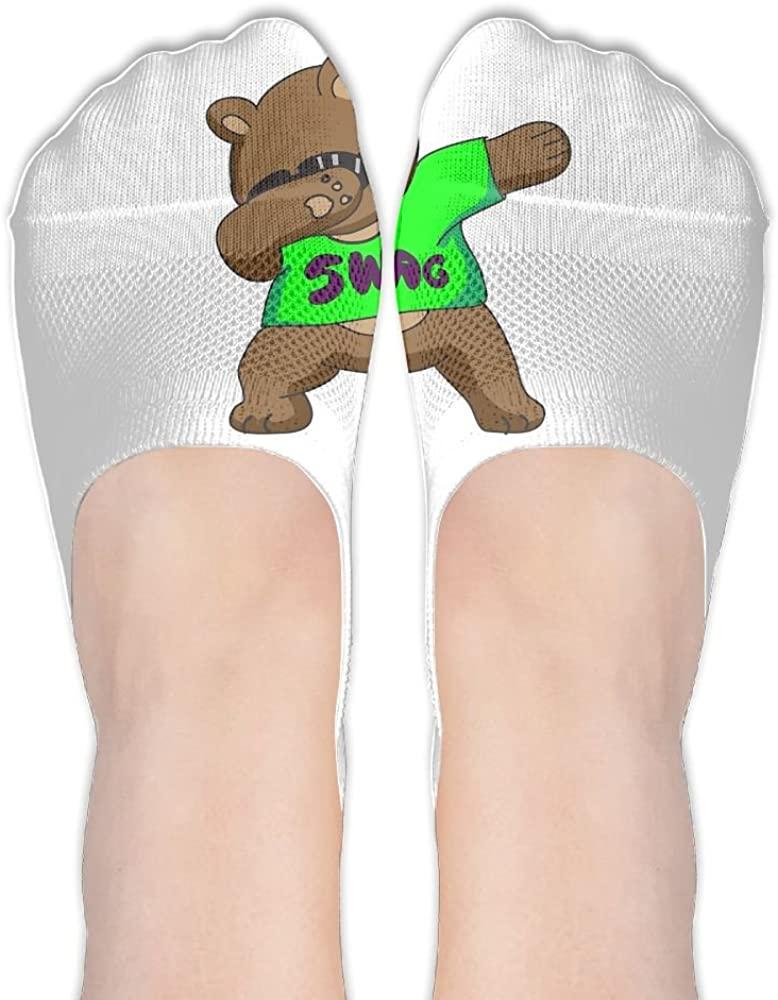 Womens Bear Dabbing Hidden Cotton Liner Socks Sports Boat Socks No Show Socks Athletic Low Stockings