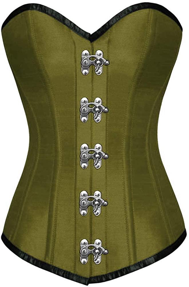 Olive Green Satin Gothic Steampunk Corset Waist Training Long Overbust Bustier