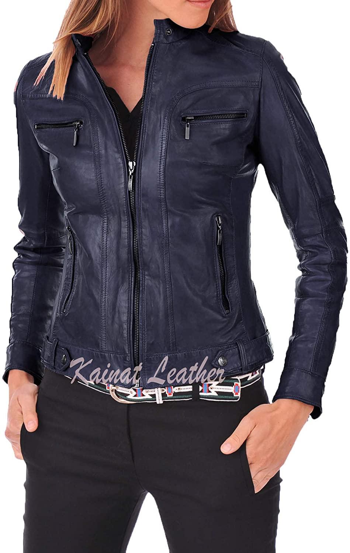 KAINAT Lambskin Leather Craft Women's Biker Jacket 67