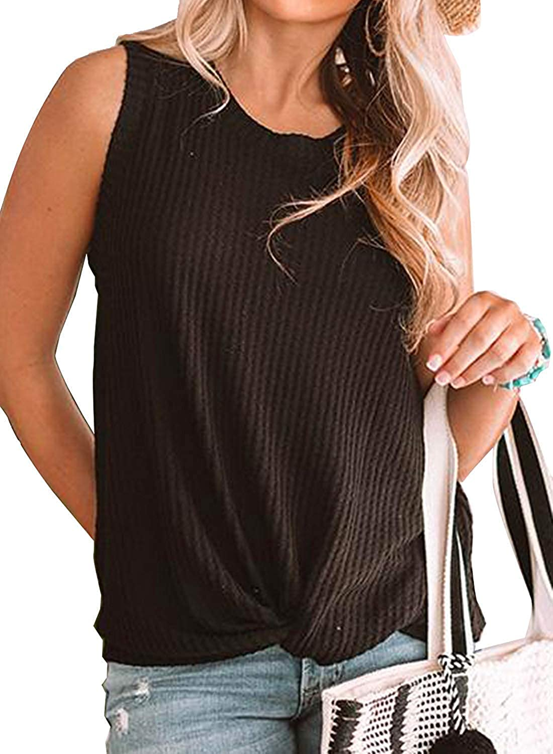 Womens Summer Casual Sleeveless Twist Knot Waffle Knit Soft Shirts Cute Tank Tops