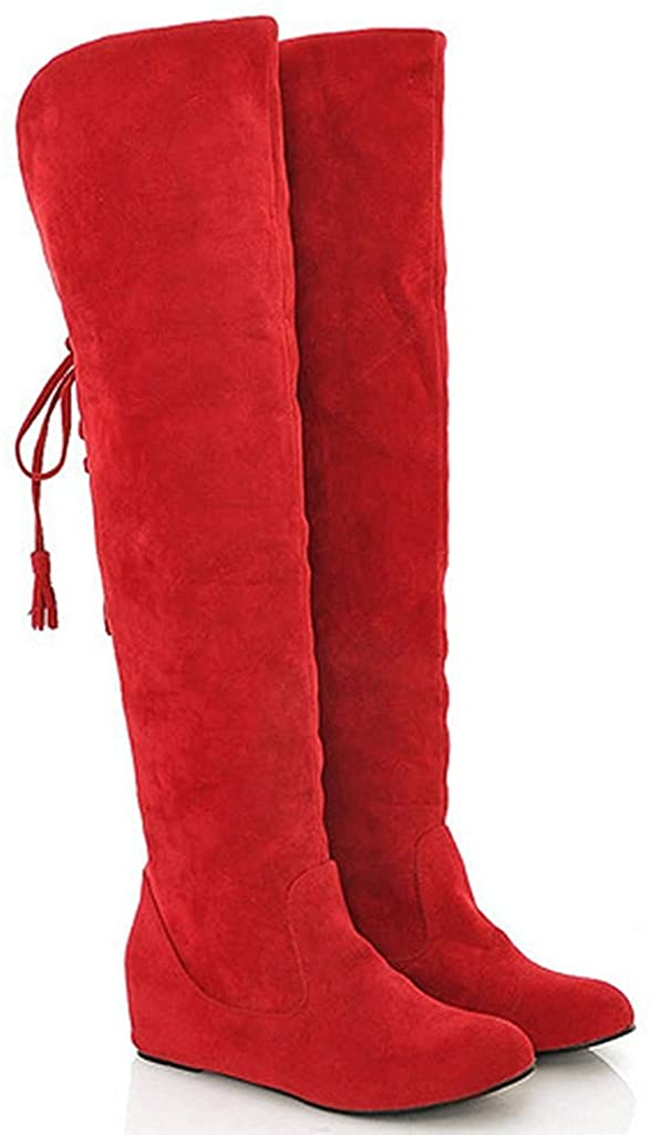 MayBest Women Winter Warm Snow High Boots Fur Boots Flat Shoes Over The Knee