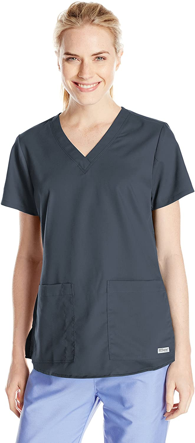 Grey's Anatomy Women's Two Pocket V-Neck Scrub Top with Shirring Back, Steel, 4X-Large
