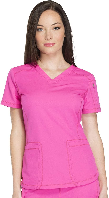 dickies Women's Dynamix V-Neck Scrub Top, Cosmic Pink, XX-Large