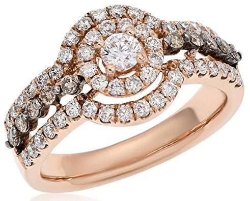 1.11CT WHITE & MOCHA DIAMOND 14KT ROSE GOLD DOUBLE HALO FRIENDSHIP PROMISE RING
