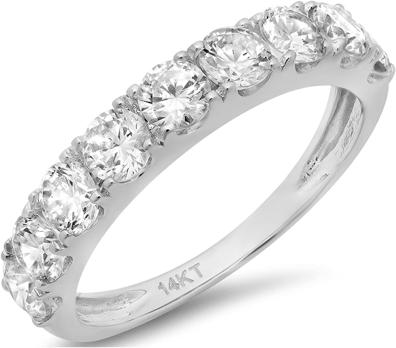 Clara Pucci 1.4 CT Round Cut Pave Set Bridal Wedding Engagement Band Ring 14kt White Gold