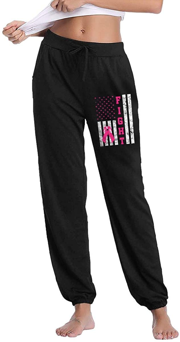 Hjgs Breast Cancer Awareness Fight Cancer Women's Sweatpants Casual Cotton Jogger Pants with Pockets