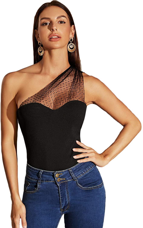WDIRARA Women's Mesh Polka Dot One Shoulder Sleeveless Slim Fit Elegant Top