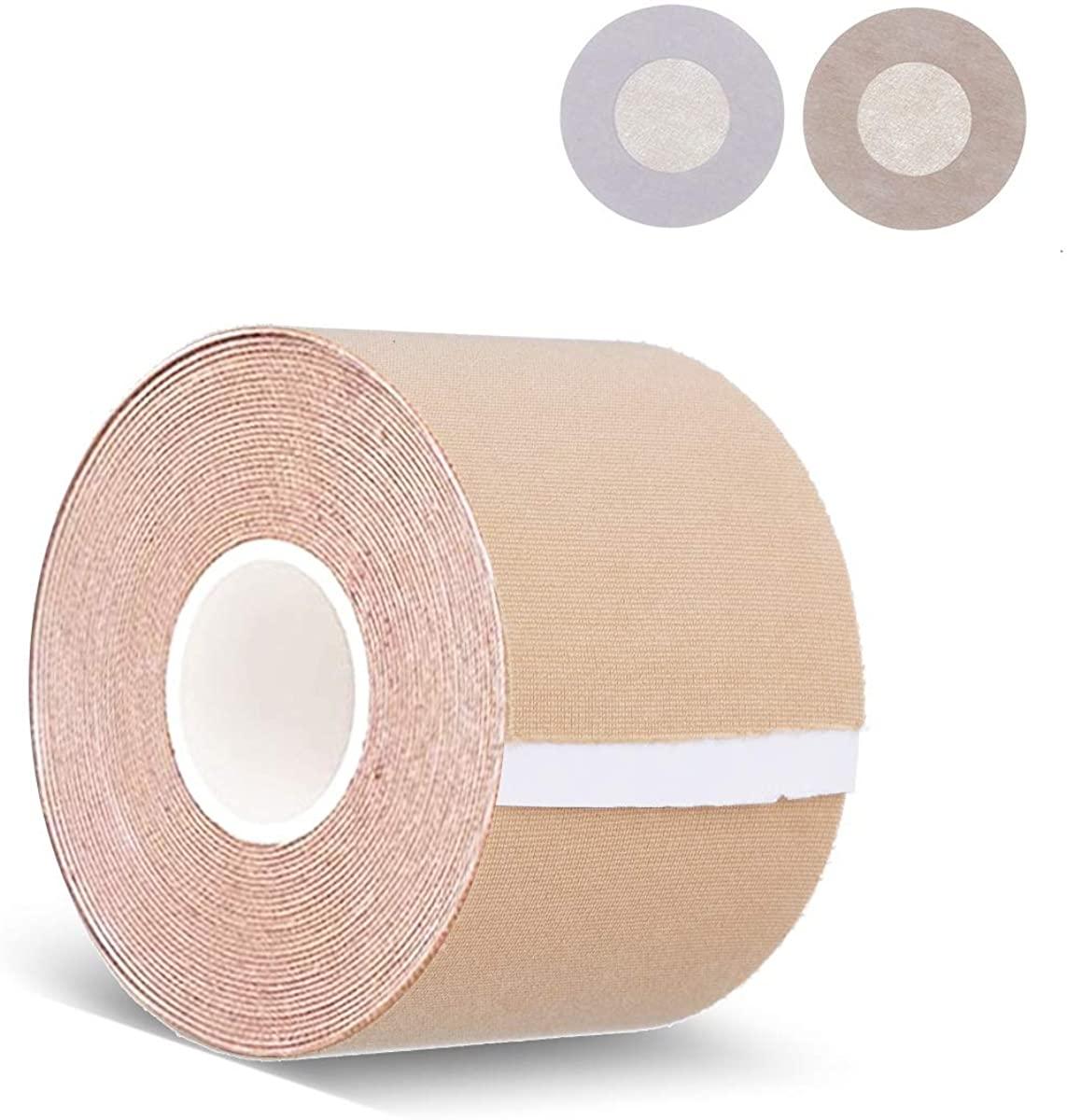 Breast Lift Tape,Bob Tape and 10 Pcs Nipple Covers Set Medical Grade Athletic Tape Adhesive Bra Boob Tape