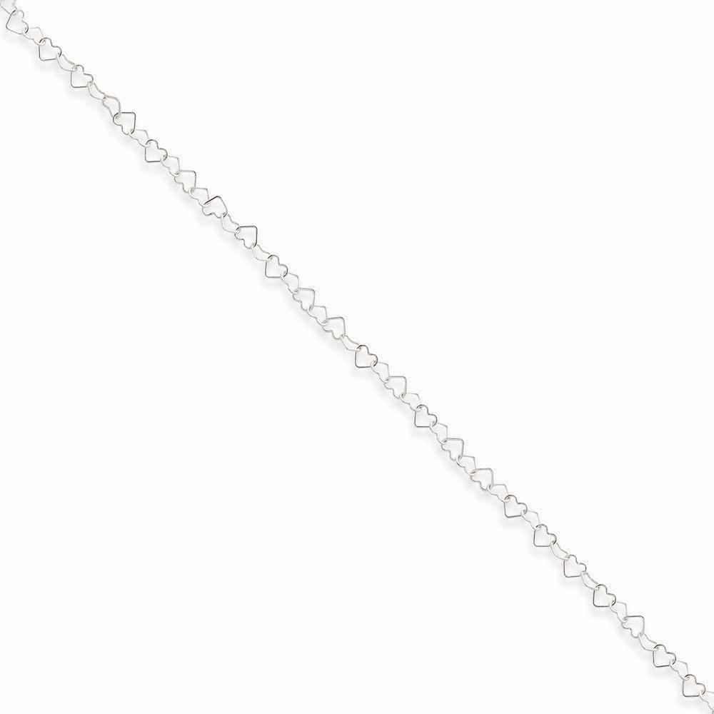 Sterling Silver 0.5mm Fancy Heart Link Anklet, Box