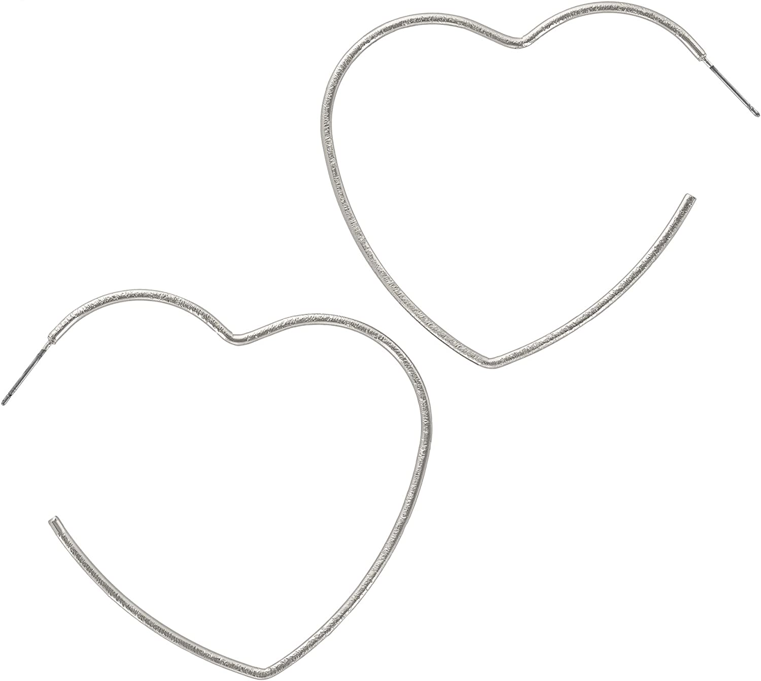 And Lovely 14K Gold or Rhodium Plated Heart Hoop Earrings with Satin Brush Finish - Hypoallergenic Lightweight Fun Statement Drop Dangle Heart Earrings
