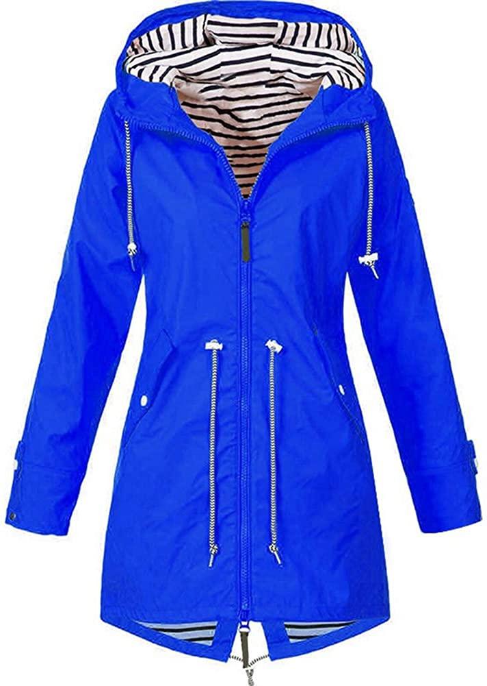 Maserfaliw Women Fashion Winter Solid Color Drawstring Hooded Zipper Jacket Outdoor Coat Black L