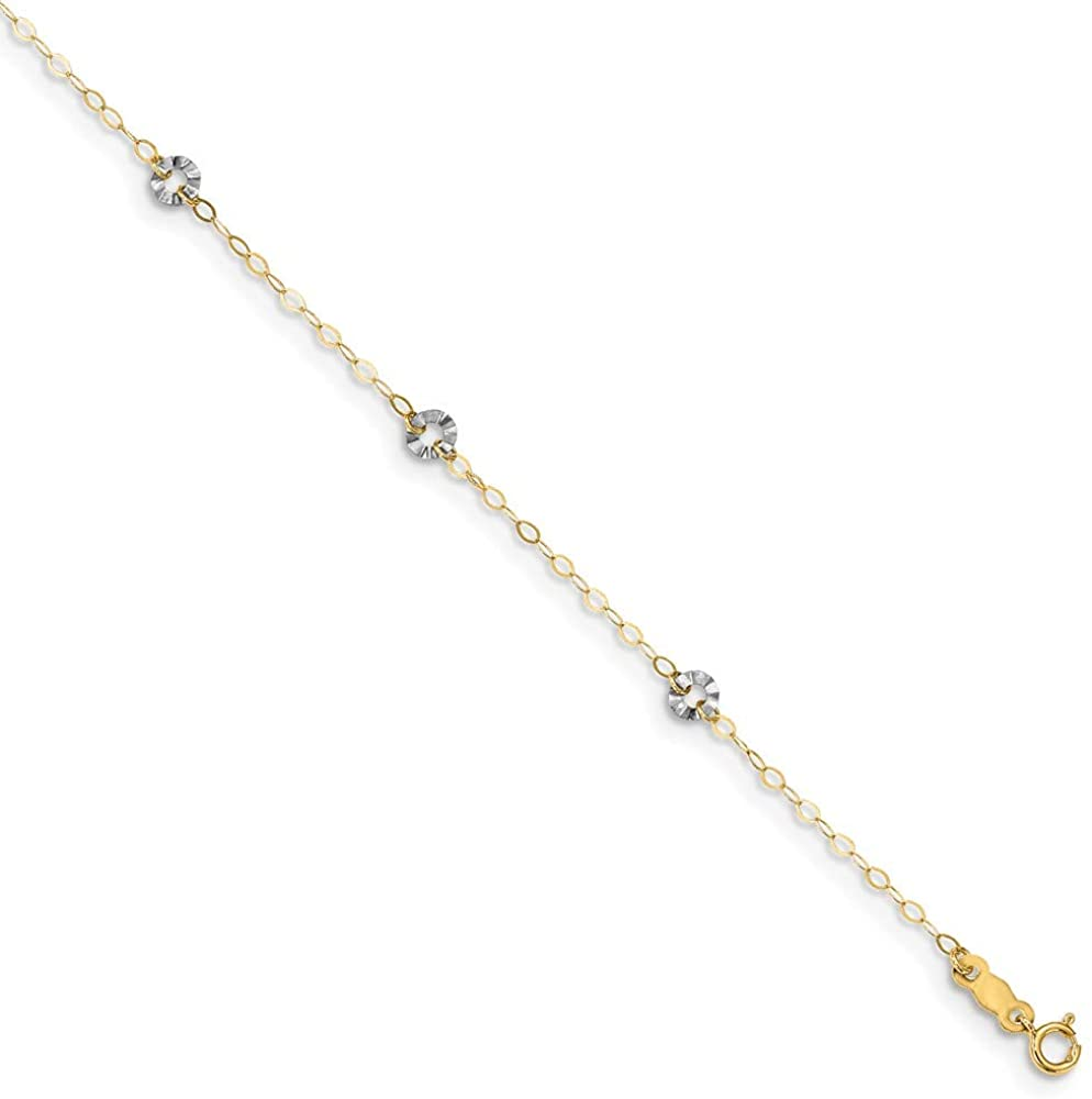 9 inch + 1 inch 14k Yellow and White Gold Oval Chain with Wavy Circles Anklet