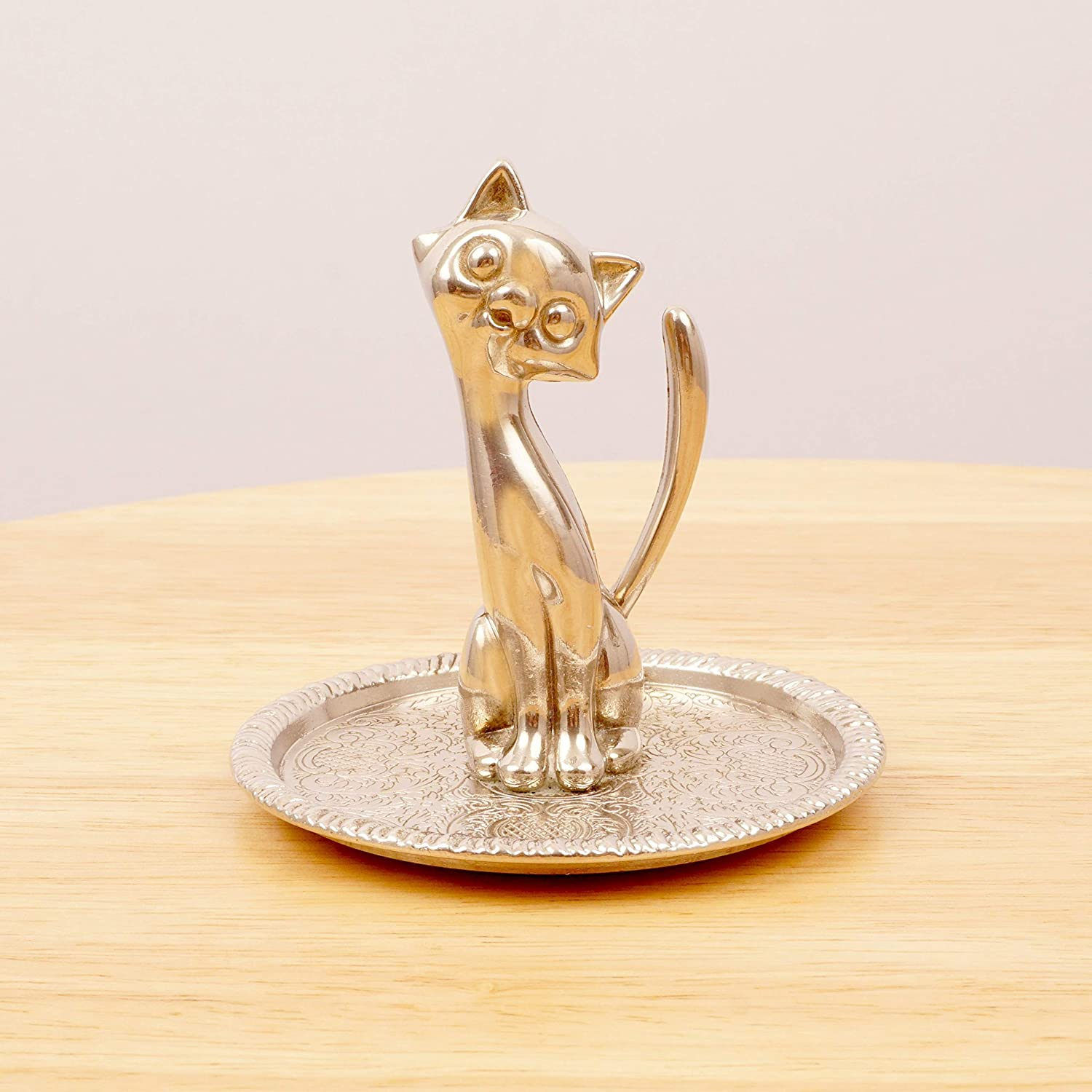 Restored by UKARETRO Ring Holder/Jewellery Plate/Tray || Cat Figurine || Floral Design || EP Zinc Alloy Silver || Blue Fabric Base