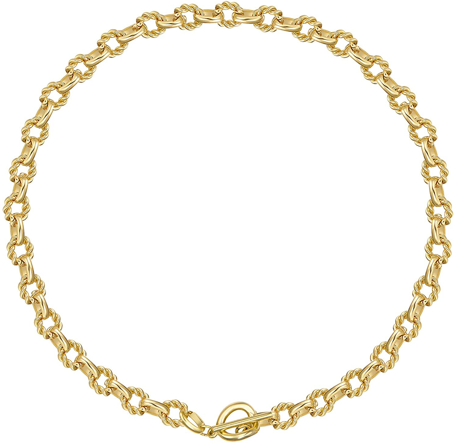 Statement 14k Gold Plated 4mm Thick Oval Chain Link Choker Collar Necklaces Chunky Gold Jewelry for Women