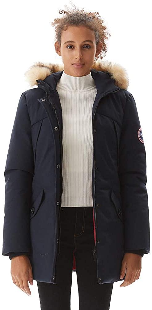 PUREMSX Women's Padded Jacket, Ladies Long Thicken Parka Faux Fur Down Alternative Winter Hooded Outwear Warm Overcoat XS-XXL