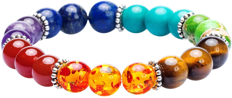 7 Chakra Healing Bracelet with Real Stones, Volcanic Lava, Mala Meditation Bracelet - Men's and Women's Jewelry - Wrap, Stretch, Charm Bracelets - Protection, Energy, Healing