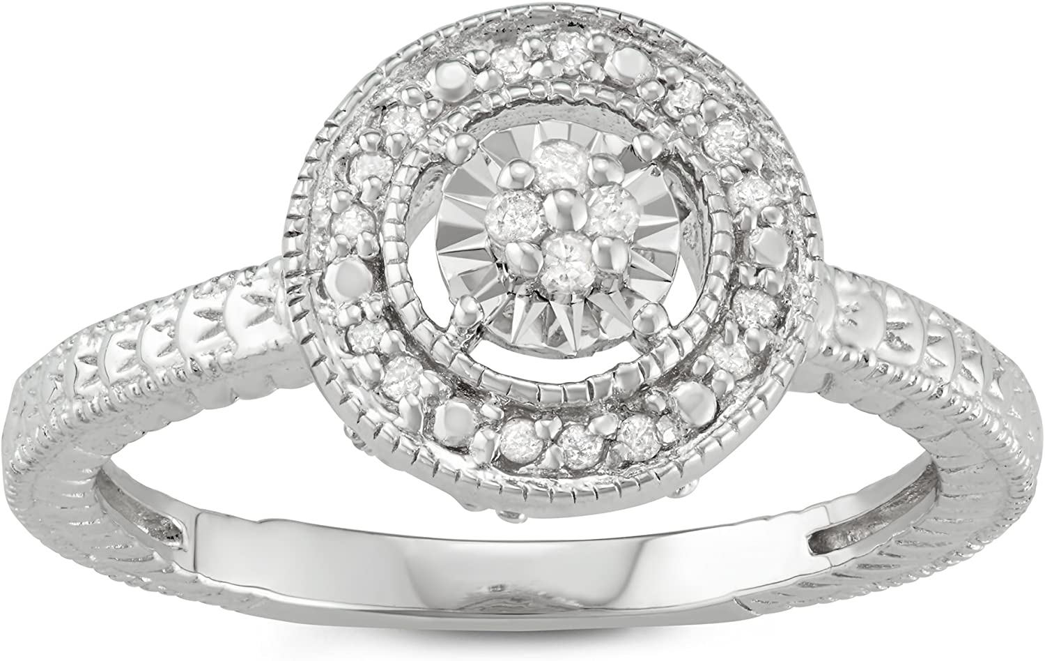 1/10 CTTW Sterling Silver White Diamond Solitaire Look Ring