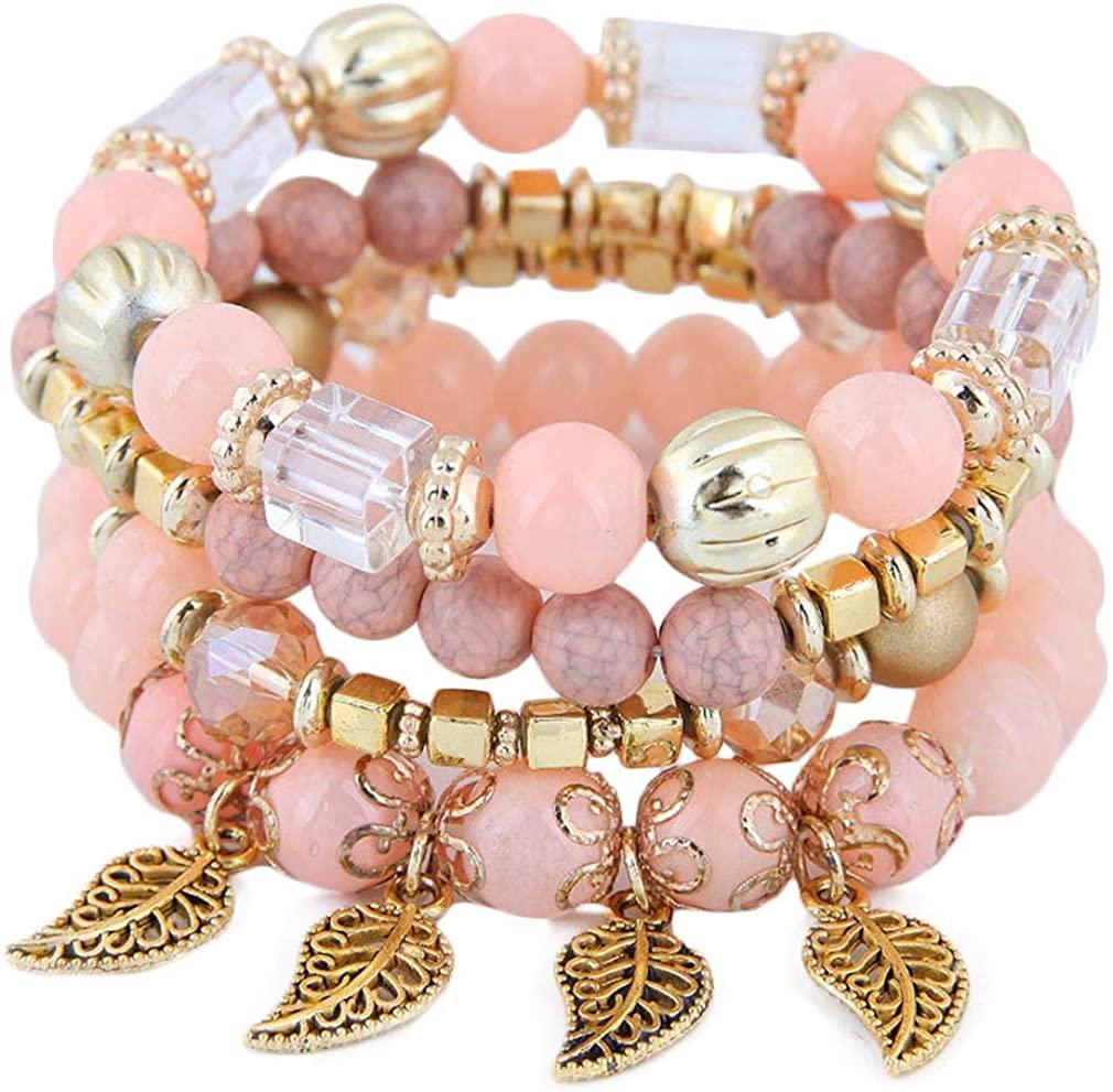 YAZILIND Simple Acrylic Alloy Leaf Pendant Multi-Layer Beads Bracelets Friendship Bracelet Party Jewelry