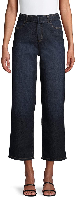 Time and Tru Women's High Rise Wide Leg Self Belt Jeans (Denim Wash)
