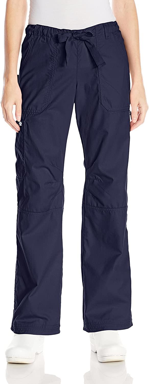 KOI Women's Lindsey Ultra Comfortable Cargo Style Scrub Pants, Navy, Medium