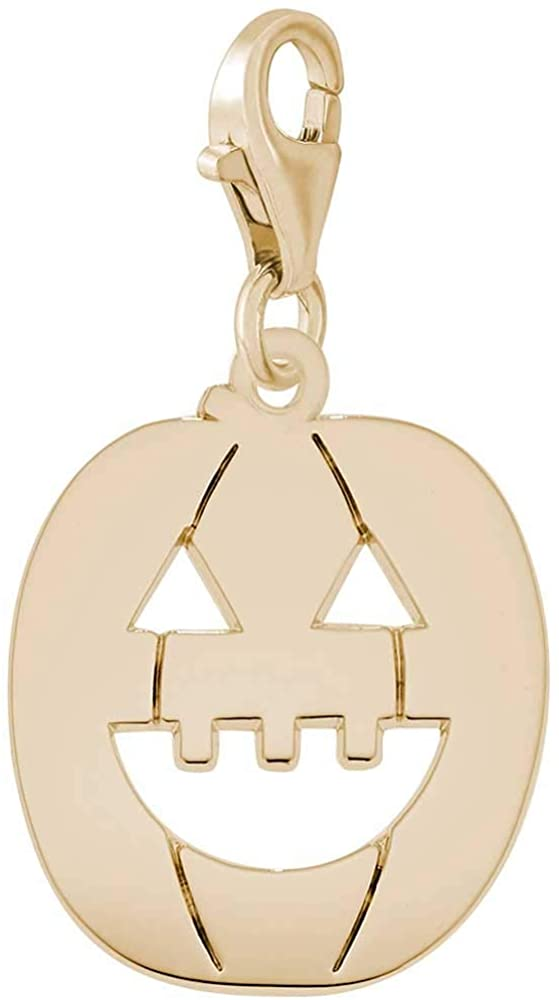 Rembrandt Charms Jack-O-Lantern Charm with Lobster Clasp, 10K Yellow Gold