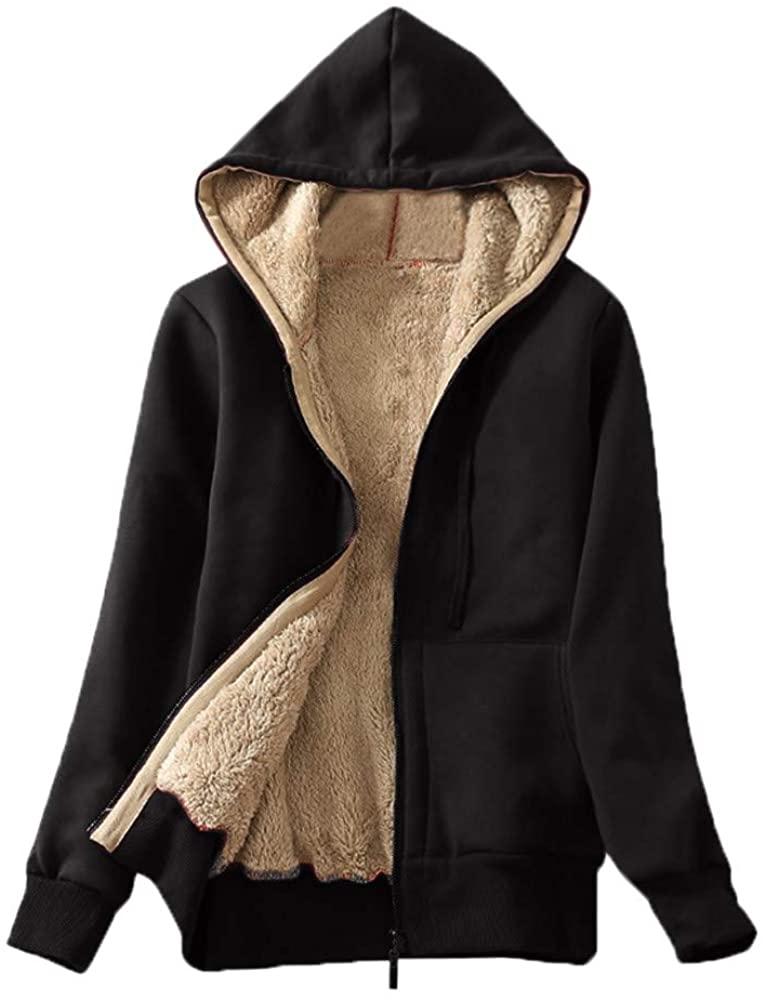 Sannysis Women's Clothing, Women's Casual Winter Warm Sherpa Lined Zip Up Hooded Sweatshirt Jacket Coat (Black, S)