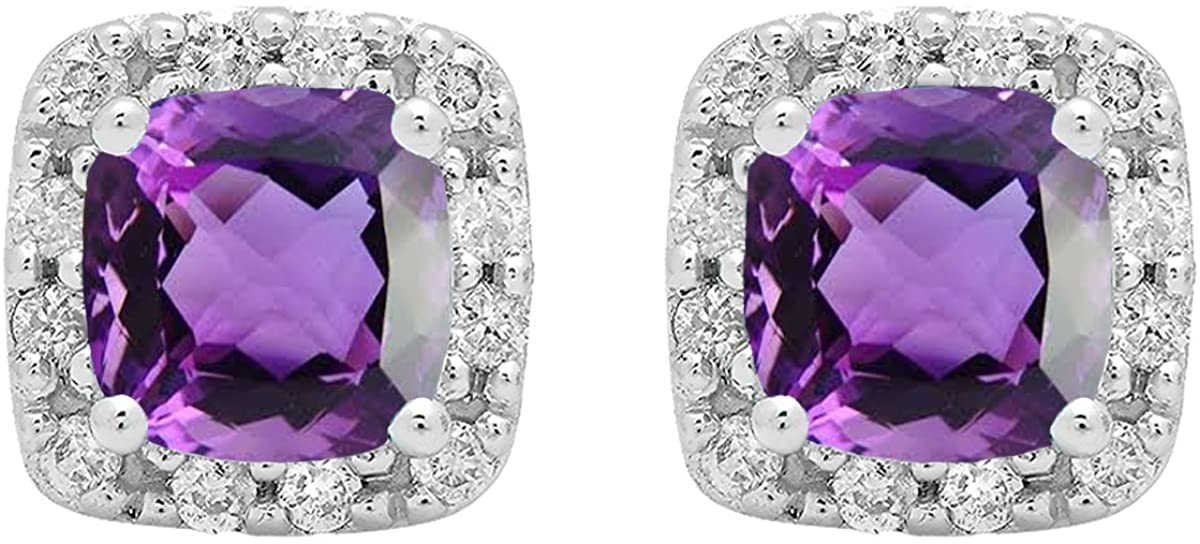 Dazzlingrock Collection 18K 6 MM Each Cushion Gemstone & Round Diamond Ladies Square Frame Halo Stud Earrings, White Gold