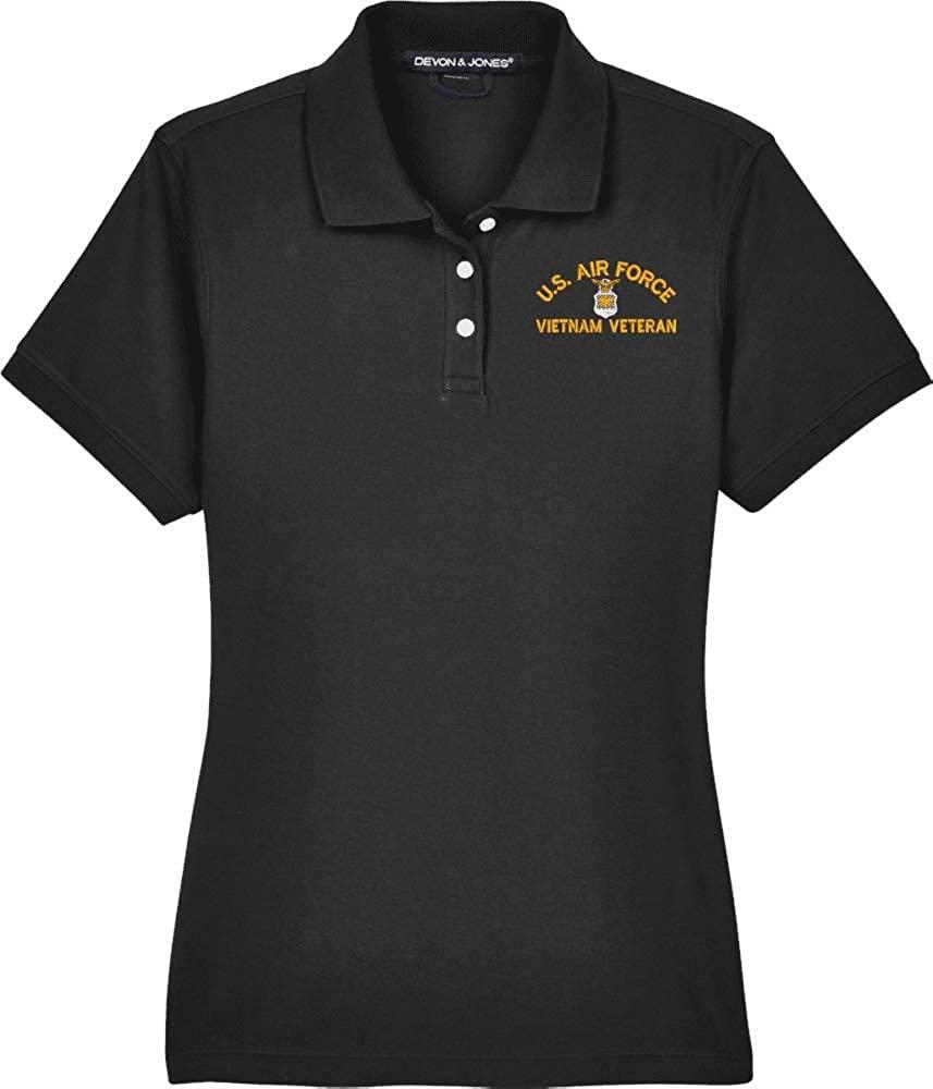 United States Air Force Emblem Vietnam Veteran Women's Devon & Jones Polo Black