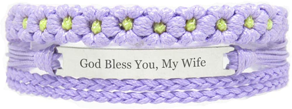 Miiras Family Engraved Handmade Bracelet - God Bless You, My Wife - Purple FL - Made of Braided Rope and Stainless Steel - Gift for Wife